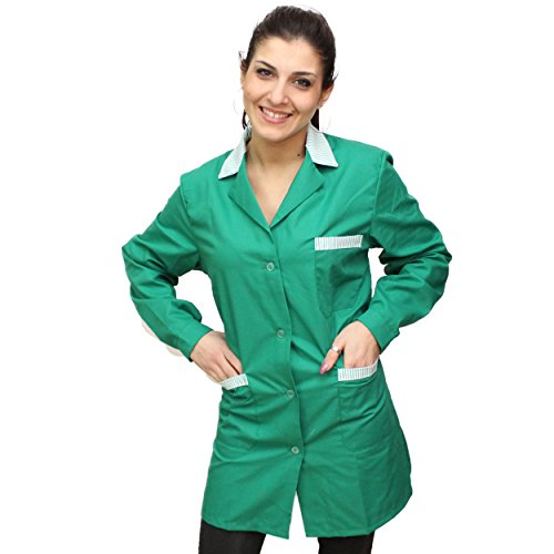 Camice da lavoro donna verde manica lunga con inserti maestra imprese pulizia professionale operaia grembiule (l, verde)