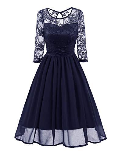 MBYXHW Frauen Sommer Kleid Vintage 1950er Jahre Blumendruck Spitze Langarm O Hals Formale Abend Prom Party Cocktail Swing Midi Kleid,Blue,L -