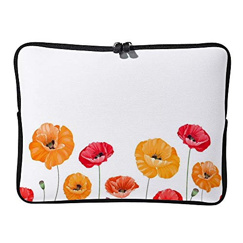 DKISEE Pattern of Poppy Flowers Laptop Sleeve Case Bag Cover Compatible 13 inches Notebook MacBook Air MacBook Pro - Hp-laptop-disney Cover