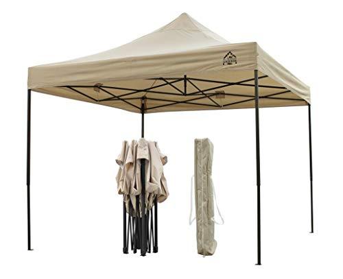Tout nouveau pavillon ouvrant instantané ultra-résistant, entièrement imperméable, revêtu de PVC de qualité supérieure 3x3m Avec housse de transport ultra-résistante GRATUITE + 4 sacs de sable faisant usage de poids - En Beige
