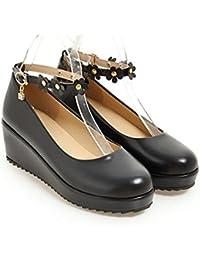 PU Superior Boca Poco Profunda Medio Talón Cuesta Abajo Zapatos De Mujer Cabeza Redonda Suela De Poliuretano Zapatos...