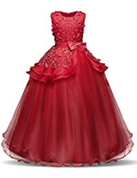 72102e0c4dd85 NNJXD Fille sans Manches Broderie Princesse Pageant Robes Enfants Bal Robe  de Bal