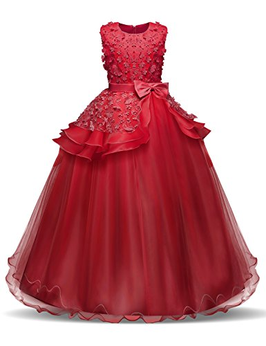NNJXD Fille sans Manches Broderie Princesse Pageant Robes...