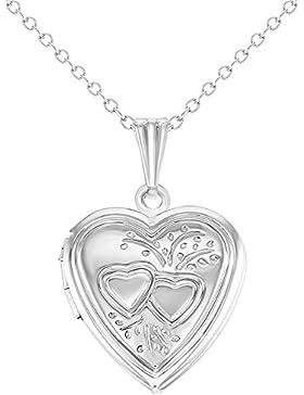 In Season Jewelry - Halskette Foto Medaillon Kleine Liebe Herzform Erinnerung 48cm