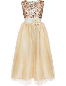 YiZYiF Blumen-Mädchen Kleid Pailletten Prinzessin Kleid Hochzeit Brautjungfer Partykleid Festlich Kleider Kommunionkleid...
