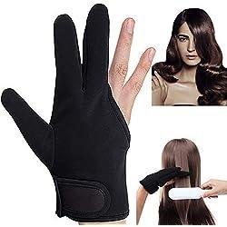Guantes Resistentes al Calor,Beautyshow Guante de 3 Dedos Profesional Resistente al Calor para el Peinado Cabello Peluqueria Plancha Plana Varita de Curling Negro