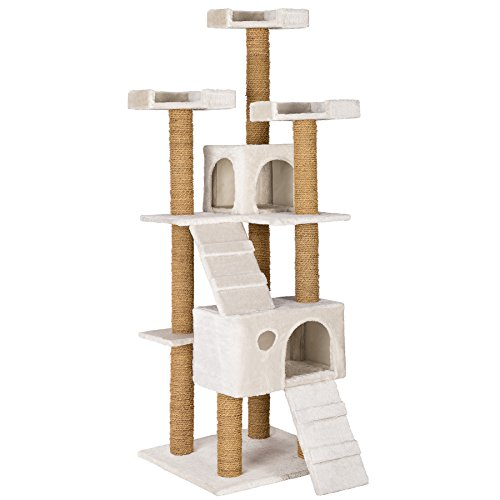 TecTake Large cat tree with scratching post activity center 169cm white | 3 platforms | 2 caves