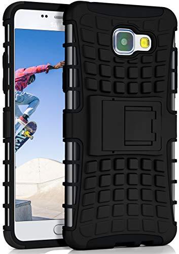 ONEFLOW® Outdoor Back-Cover aus Silikon + Kunststoff [Double-Layer] passend für Samsung Galaxy A5 (2016) | Extrem widerstandsfähiger 360° Schutz, Schwarz