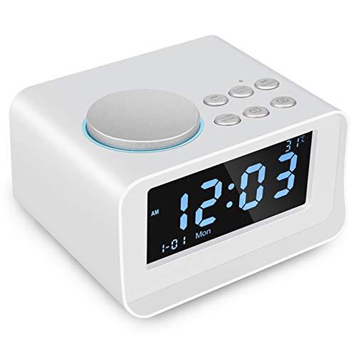 EU Reloj Despertador Digital, Altavoz Bluetooth con Cargador USB, Radio FM, Snooze, Aux TF Card Play...