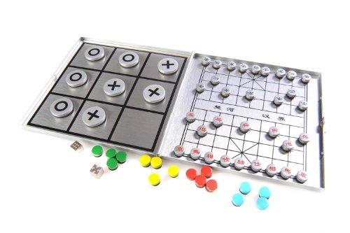 Azerus Alu Line: 4-in-1 Spielset B - Xiangqi, Ludo, Solitaire (Peg Solitaire oder Sailor's Solitaire), Tic-Tac-Toe, mit magnetischen Spielsteinen, Spielbrett 10,5cm x 10cm x 0,6cm (XY041P4 DE)