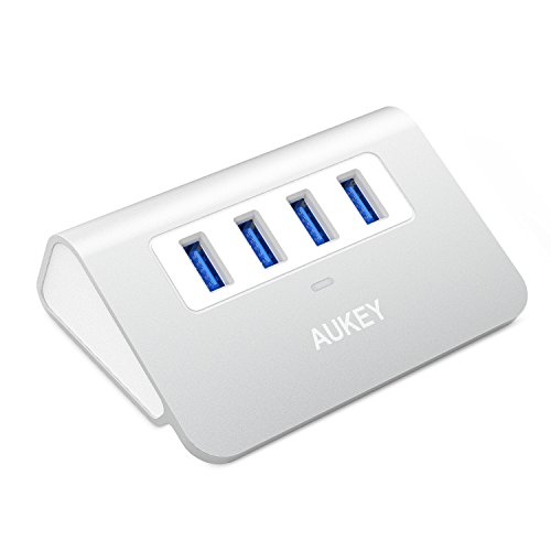 AUKEY Hub USB 3.0 4 Puertos Aluminio Alta Velocidad con Cable USB 3.0 de 0,5M para iMac, MacBook Air, MacBook Pro, MacBook, Mac Mini, PC y Ordenador Portátil ( Plata )