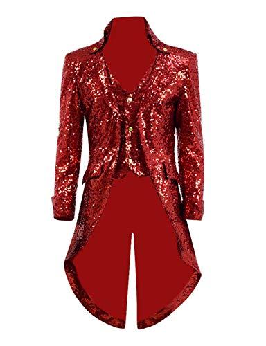 Qian Qian Herren Vintage Frack Jacke Gothic Steampunk Viktorianischen Mantel Karneval Vampir Kostüm Smoking Jacke Uniform (S, Rot - Rote Smoking Jacke Kostüm