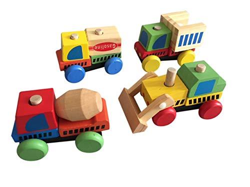 porter Baustelle, Bagger, Auto 4-teilig Holzspielzeug, Spielzeug Holz bunt Bausteine ab 3 Jahren Geschenk ()