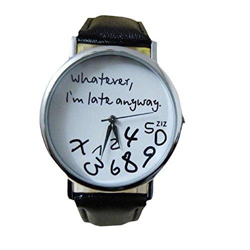 lettera di donne orologi, FEITONG pelle qualunque ritardo sono comunque Guarda (Nero) - Elegante Movimento Al Quarzo Guarda