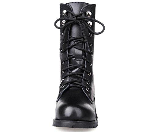Zapatos Xdgg Mujer Solo Boots Martin Pu Boots Artificial Informal Y Cómodo Negro