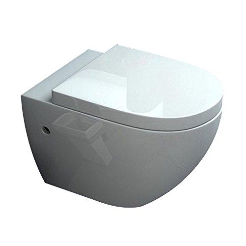 Lux-aqua Design Keramik Wand Hänge Spülrankloses lnkl. WC Sitz und Nano-Beschichtung B2376-N