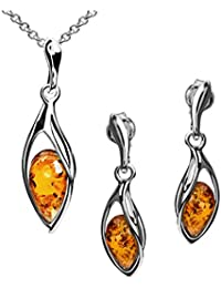 Blue Amber Sterling Silver Drop Earrings Pendant Small Necklace Set Chain 46cm
