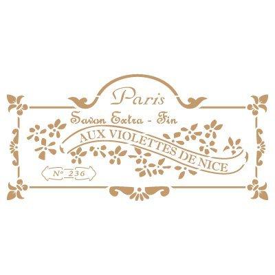 Stencil deco vintage composizione 191 savon paris. misure: dimensioni esterne dello stencil: 20 x 30 cm misure design: 12,6 x 26 cm