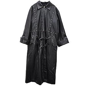 El celibato 32005767.008L Mens Steampunk chaqueta de cuero de imitación con cremallera - Longitud de ternera Gr. L, negro