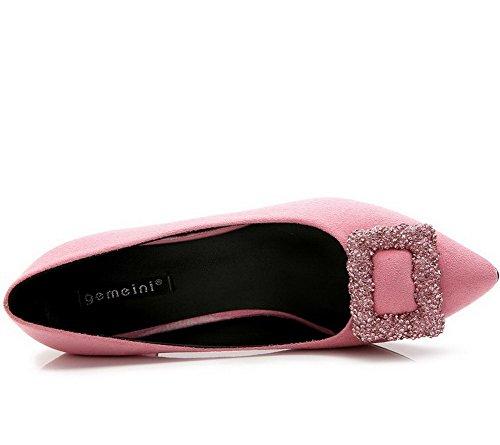AalarDom Damen Mittler Absatz Spitz Zehe Pumps Schuhe mit Metallisch Pink