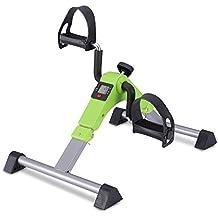 MeMeDa Pedales Estaticos Mini Bicicleta de Ejercicio para Brazos y Piernas con Monitor LCD(Verde