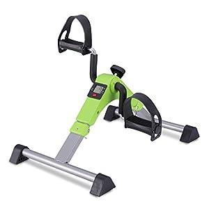 MeMeDa Mini Fahrrad Pedal Trainer für Arm- und Beintrainer Heimtrainer mit LCD-Monitor(Schwarz/Grau)