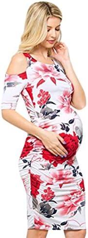 WensLTD Pregnant Dress, WensLTD Fashion Floral Print Cold Shoulder Bodycon Dress Pregnant Dress for Maternity
