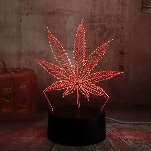 3D Optical Illusion Lampe Led Nachtlicht Neue Nachtlicht Unkraut Hanfblatt 3D Led Lampe Haus Dekoration Schlaf Nachtlicht Lampe Schreibtisch Tisch Urlaub Geschenke Spielzeug Flash Party Decor Lava (Flash Tisch)