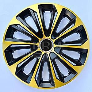 """WoMa Kreativ Strong Duocolor Gold-schwarz 16 Zoll x 4 Radkappen 16\"""" Radzierblenden Radblenden Satz Qualität"""
