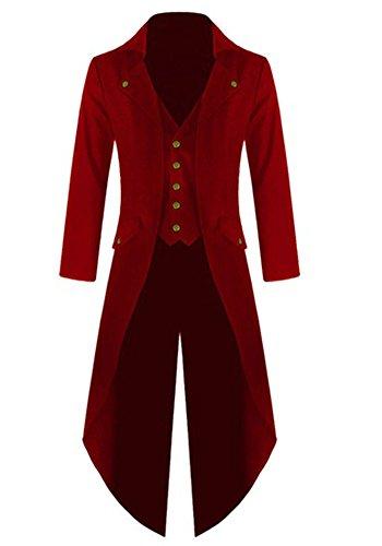Outgobuy Herren Steampunk Vintage Frack Jacke Gothic viktorianischen Frock Mantel Uniform Kostüm (M, Rot)