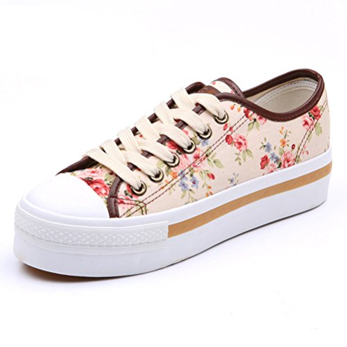 Damen Nette Runde Zehen Schnürsenkel Blumen Flache Anti Rutsch Bequeme Sneakers Beige