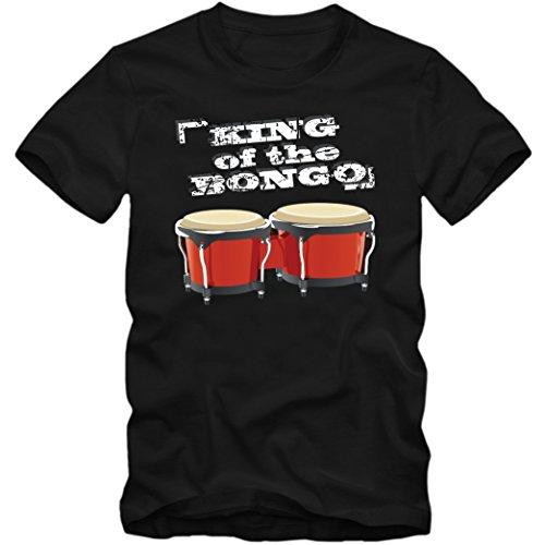 Luftbongos T-Shirt | Herren |Musik |Lufttrommel | Instrumental, Farbe:Schwarz (Deep Black L190);Größe:M