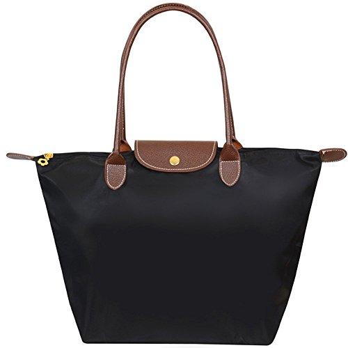 Shopper Tasche Groß, Meersee Wasserdichtes Nylon Shopper Schultertasche Umhängetasche Damen Handtasche Tote Tasche (L, Schwarz) (Kosmetik Tasche Tote)
