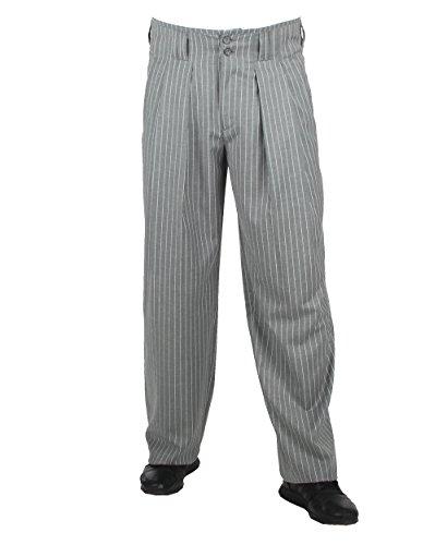 Grau Weiss Gestreifte Bundfaltenhose Retro Vintage Stil, Business Anzughose Hose aus Baumwollmischung mit Extraweit geschnittene Beine von HK Mandel Größe 48