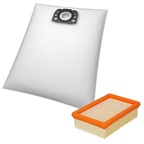 10 Staubsaugerbeutel + 1 Flachfaltenfilter geeignet für Kärcher MV 4, MV 5 und MV 6 Mehrzwecksauger - Beutel-Typ KA 33 inkl. Filter