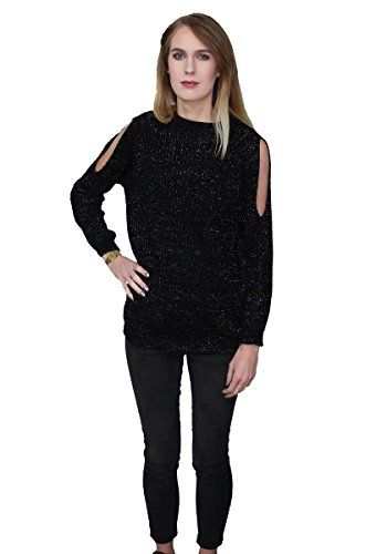 Girltalkfashions Damen Pullover, Einfarbig 100 DEN Small Gr. Medium, schwarz (Sparkle Metallic-pullover)