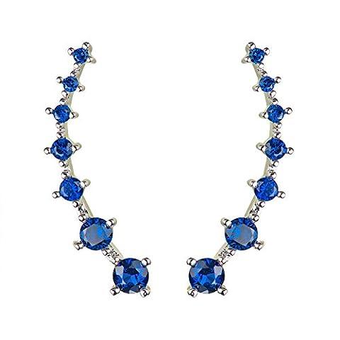 EAR VINES Silver Cubic Zirconia Crystal Ear Cuffs Climber Earrings (Blue)