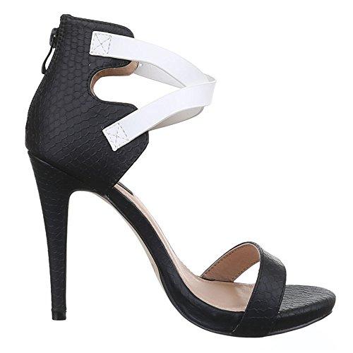 Ital-Design - Sandali Donna Nero (Noir - Negro - Schwarz Weiß)
