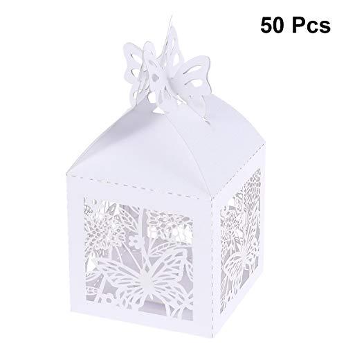 STOBOK Geschenkboxen Aushöhlen Schmetterling Kraftpapier Süßigkeiten Box Schachtel DIY Hochzeit Baby Dusche Geburtstag Party 50 Stück (Weiß)