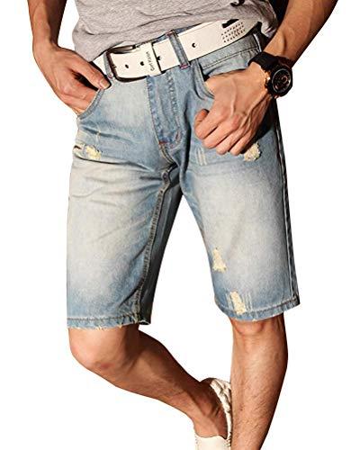 Minetom Herren Denim Bermuda Jeans Shorts Sommer Kurze Hose Basic Jeanshose Destroyed Used-Look Stretch Jogger Cargo Freizeithose A Blau W35/Taille 89CM Ss-chino-hose