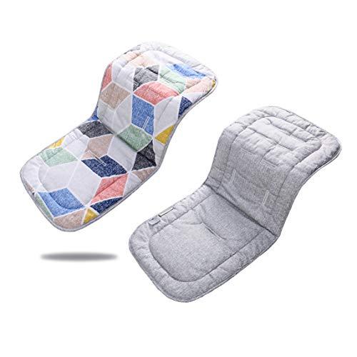 Reversibile bambino in puro cotone per passeggino o seggiolino auto per passeggino inserto portatile per il cambio,32 x 80 cm infant cuscino pad(poligono rosa + grigio)