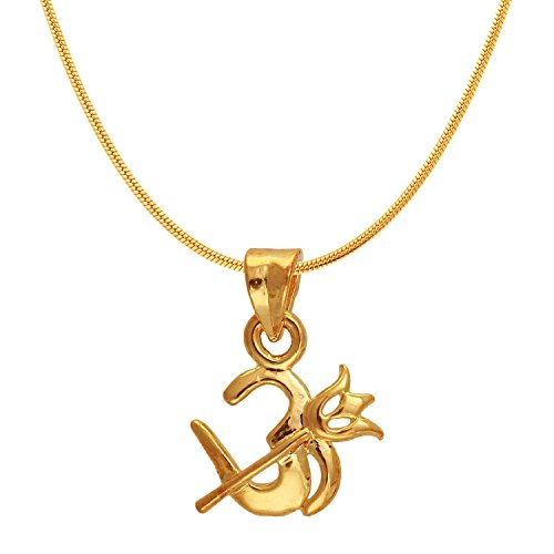 Mahi Exa Collection Om Trishul Gold Plated Religious God Pendant with Chain for Men & Women PS6012003G