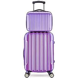 Maleta de 20 Pulgadas con neceser de 14 Pulgadas con 4 ruedas con candado como equipaje de mano / cabina de material ABS para vuelos low-cost Púrpura