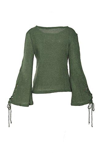 Lettre damour les Femmes Bandage Papillon Fusée Manche en Chemise Pull Maxi green