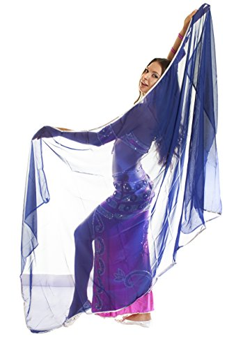 Turkish Emporium belly dance voile en mousseline avec bordure or ou argent–toutes les couleurs disponibles Bleu - DARK BLUE/SILVER