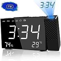 HQQNUO Despertador Proyector LED Radio Despertador Digital con Dobles Alarmas Función Snooze Temporizador de Apagado Reloj de Proyección Giratorio de 180° EU Plug para niños, Adultos y Viejos