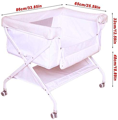 BHDYHM Baby Playard, Convertible Playpen with Bassinet, Travel Bassinet Bed, Foldable Bassinet Bed with Hanging Toys, Music Box, Wheels & Brake, Large Capacity Basket BHDYHM 1. Details: with curtain four-corner mesh design, breathable circulation, easy to observe baby movements. 2. Design: flat bed design, the spine is straight when sleeping on the side; it stays naturally bent when sleeping. 3. The thick mattress is lovely, soft and comfortable. The large lying area provides plenty of space for the baby, and everything is for a good dream. 2