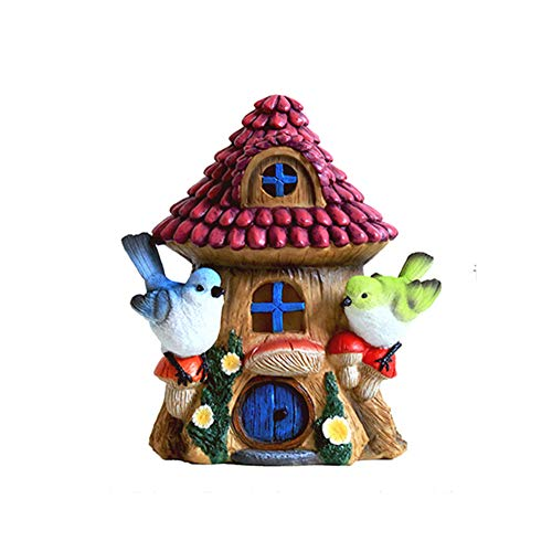 XCXDX Pilz Haus Vogel Solarlicht, Handgemachte Harz Ornamente Für Gartenterrasse Rasen, Schicke Einweihungsparty Geschenk -