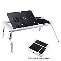 Portable Laptop Stand Folding Computer Table Desk with 2 USB Cooling Fan Adjustable Angle Height for Home Bed Sofa Floor Traveling