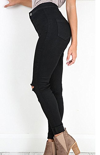 Donne Jeans Strappati Pantaloni A Vita Alta Jeans Distrutti Slim Fit Denim Pantaloni Nero